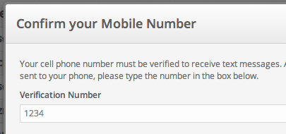 Enter your SMS confirmation number.
